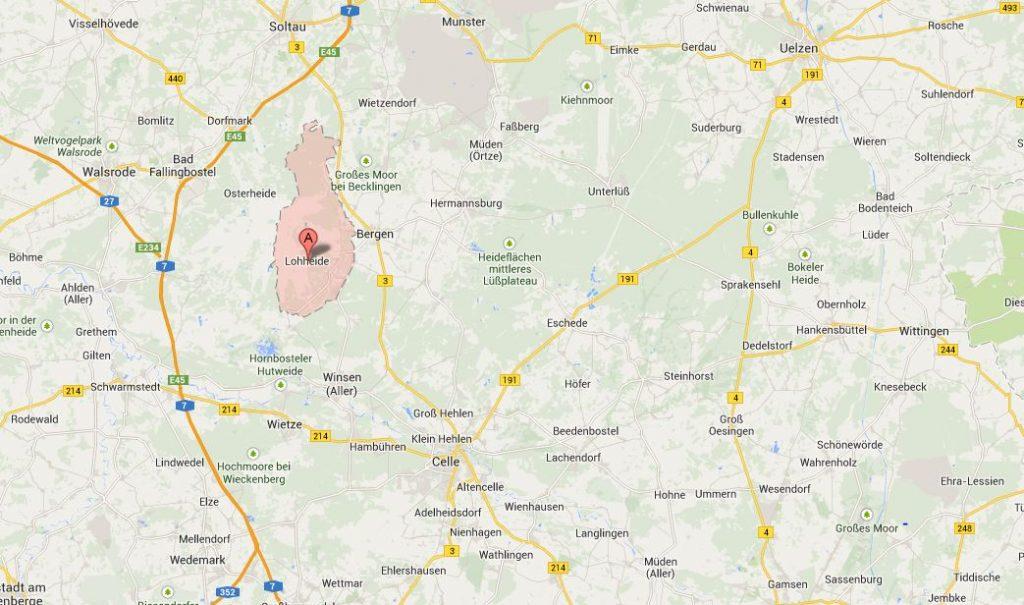 Eine kleine Übersicht über die Ausmaße des gemeindefreien Bezirks Lohheide